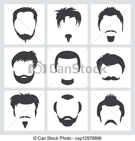 Set Of Men S Hair And Facial Hair Graphic Designs