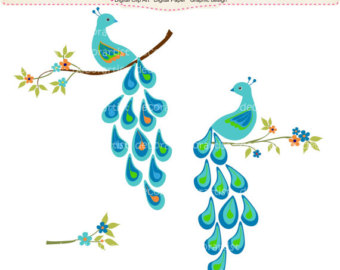 Summer Peacock 5 Flowers Branch  Peacock Clip Art  Instant Download