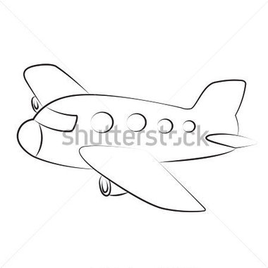Transportation   Black Outline Vector Airplane On White Background