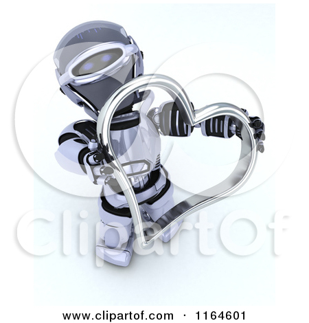 3d Robot Holding A Red Valentine Heart With Others At His Feet By Kj