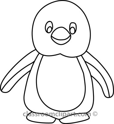 Animals   Penguin 314 05b Outline   Classroom Clipart