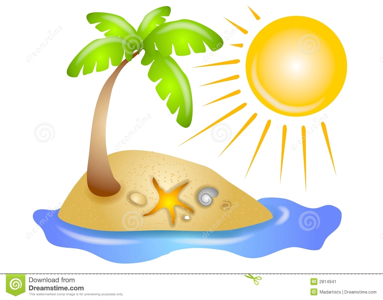 Beach With Palm Tree Clipart Deserted Island Palm Tree Royalty Free