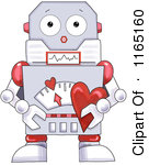 Cartoon Of A Cute Robot Holding A Valentine Heart Royalty Free Clipart