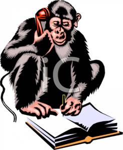 Cimp Taking A Telephone Message   Royalty Free Clipart Picture