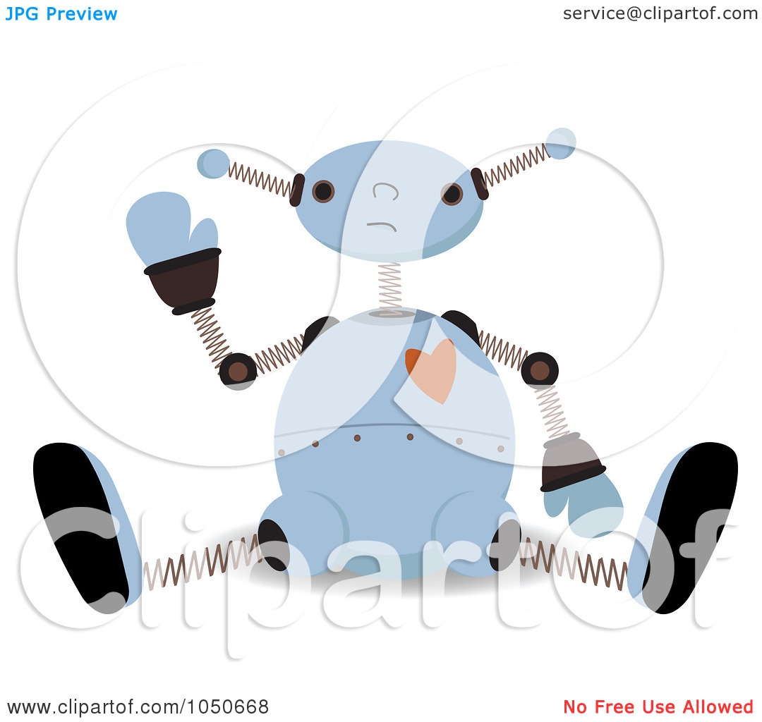 Clip Art Illustration Of A Valentine Robot Sitting And Waving By Mheld