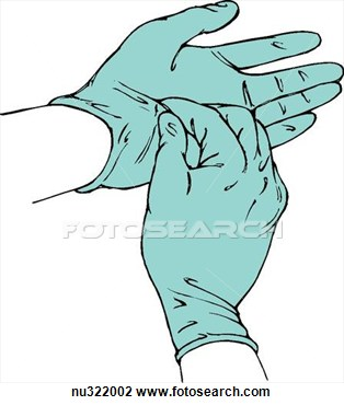Clip Art Of Illustration Of Gloved Hands  Right Hand Begins Removal Of