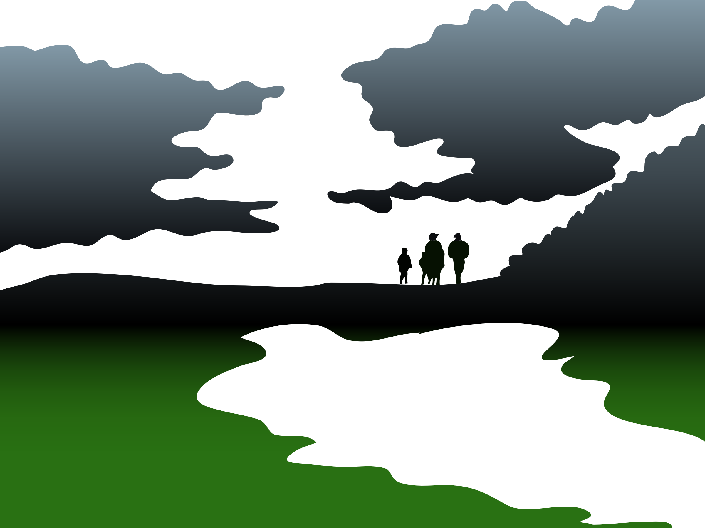 Clipart   Abstract Family Landscape Silhouette