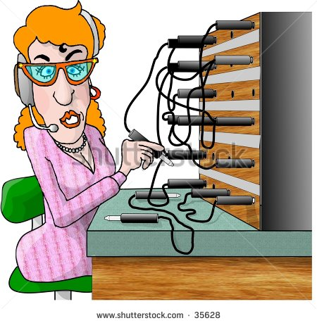 Clipart Illustration Of Woman Working An Old Fashioned Phone