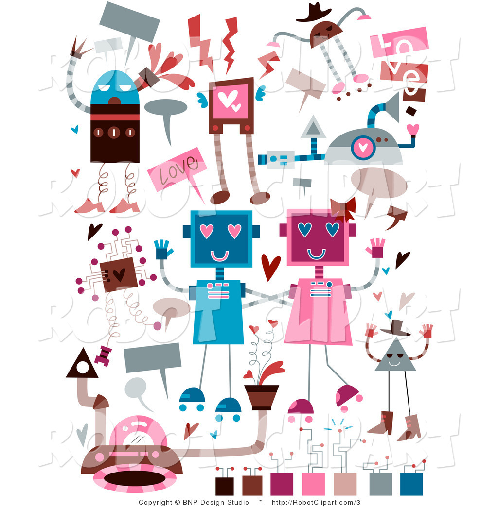 Clipart Of Valentines Day Doodle Robots By Bnp Design Studio    3