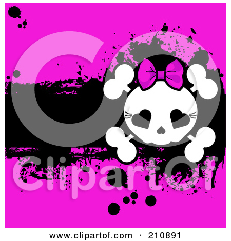 Free  Rf  Clipart Illustration Of A Pink Girly Skull And Crossbones