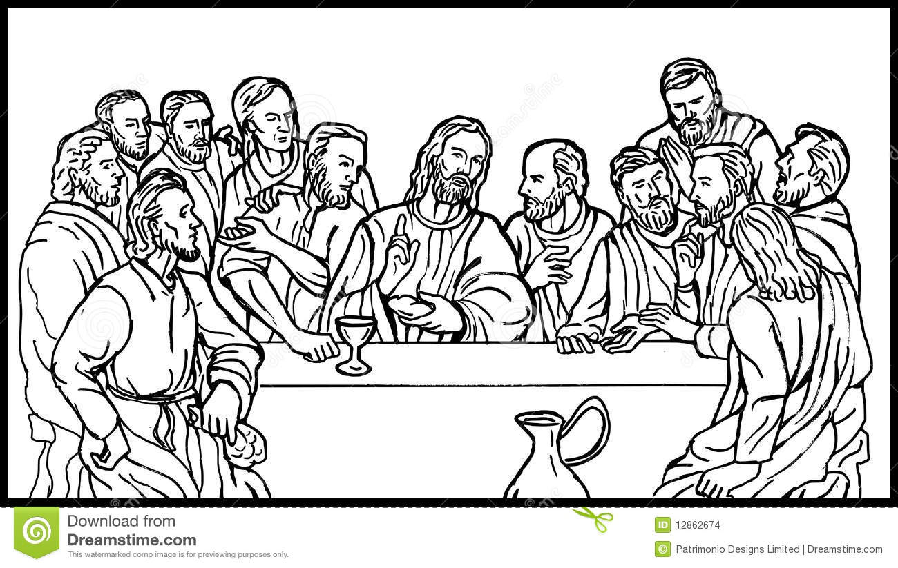 Hand Sketch Illustration Of The Last Supper Of Jesus And His Disciples
