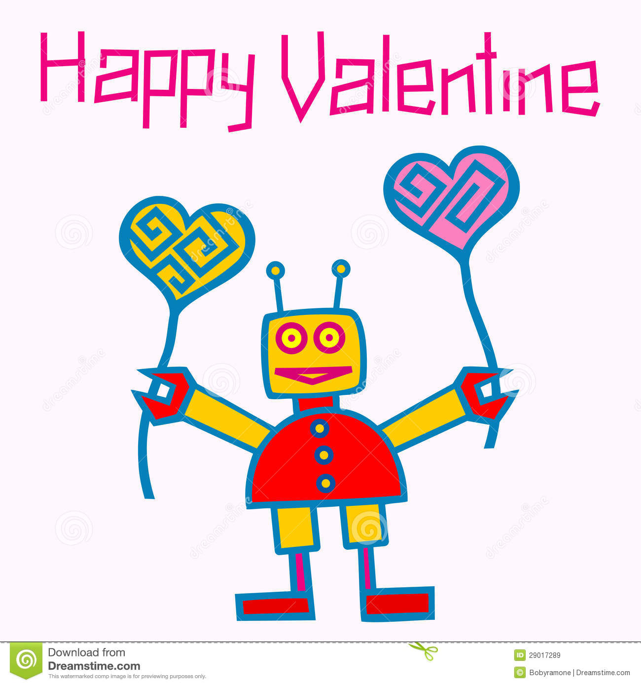 Happy Valentine Robot Royalty Free Stock Images   Image  29017289