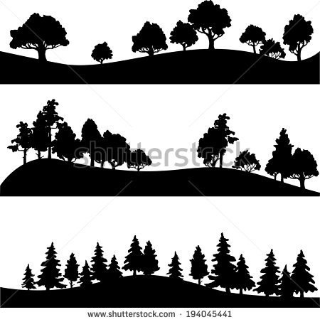 Landscape Silhouette Vector Set Of Different Silhouettes