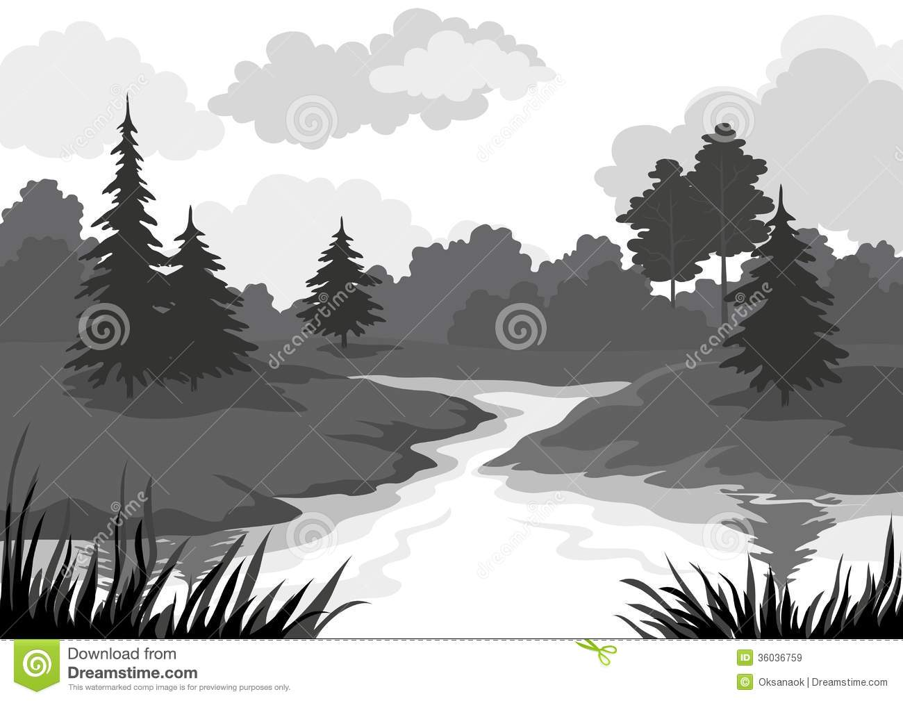 Landscape Trees And River Black And Grey Silhouette Contour On White