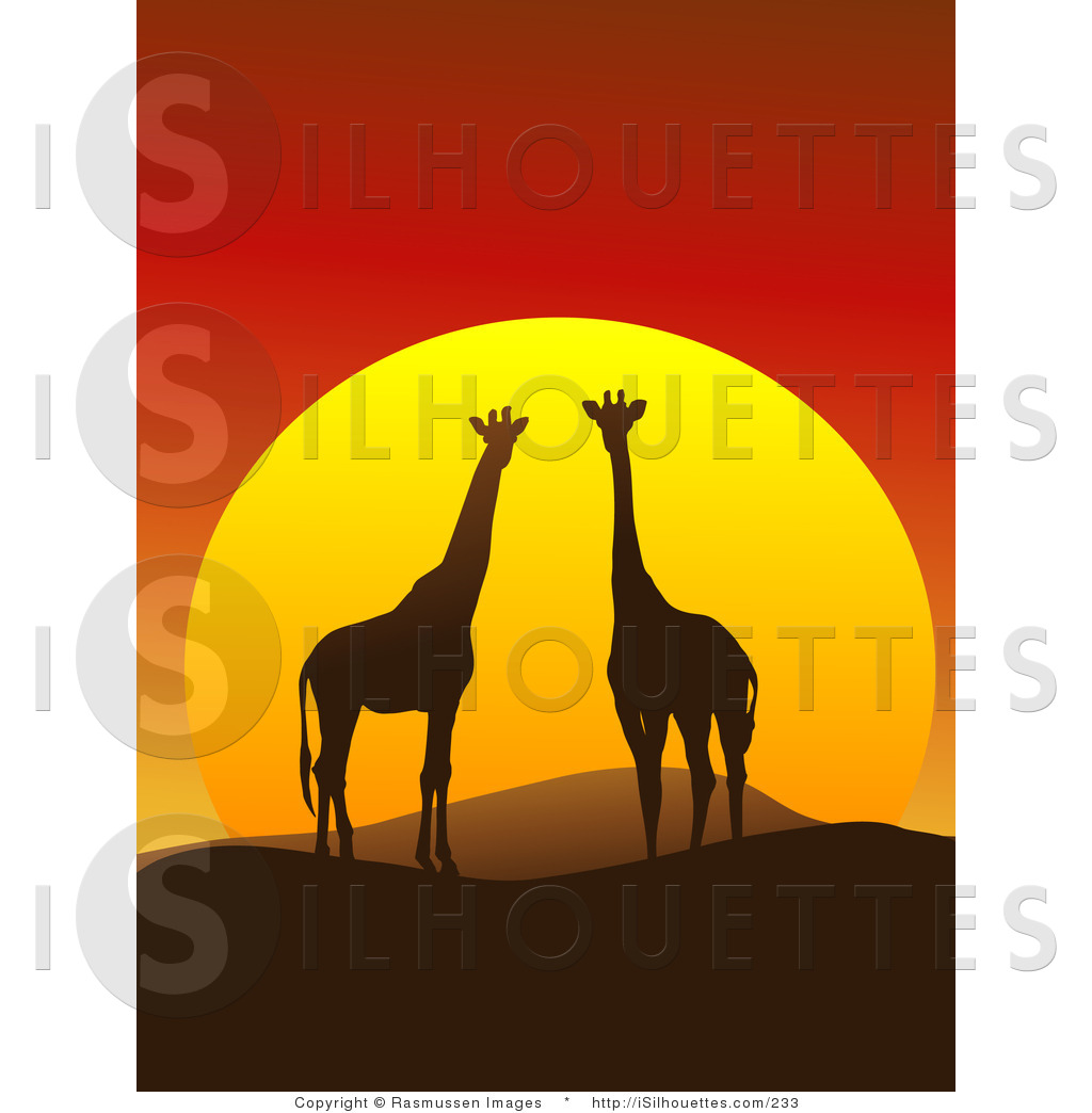 Larger Preview  Silhouette Clipart Of A Giraffe Couple Silhouetted On