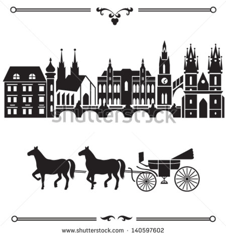 Prague Illustration With City Landscape Silhouette And Carriage With
