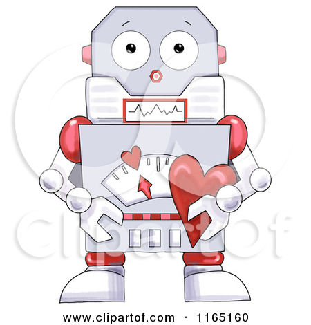 Robot Holding A Valentine Heart   Royalty Free Clipart By Gina Jane