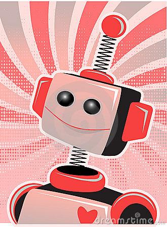 Valentine Robot Smile Swirl Halftone Stock Image   Image  17061301
