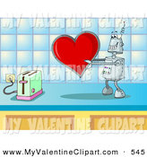 Valentine S Clipart Of A Silly Metallic Robot In Love Holding A Red