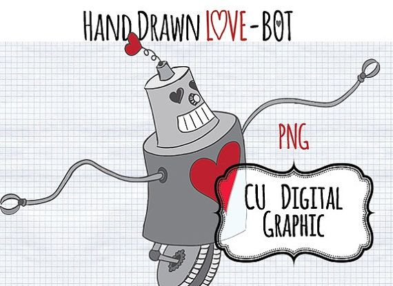 Valentine S Digital Clipart Love Robot Instant By Digibonbons  2 50