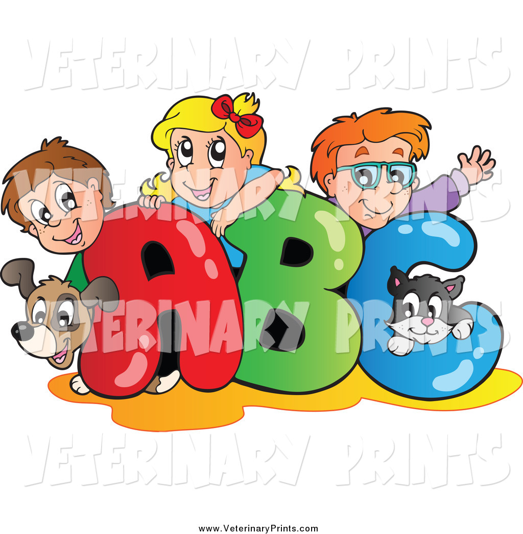 Art Print Of A Cartoon Dog Cat And School Children Big Abc By Visekart