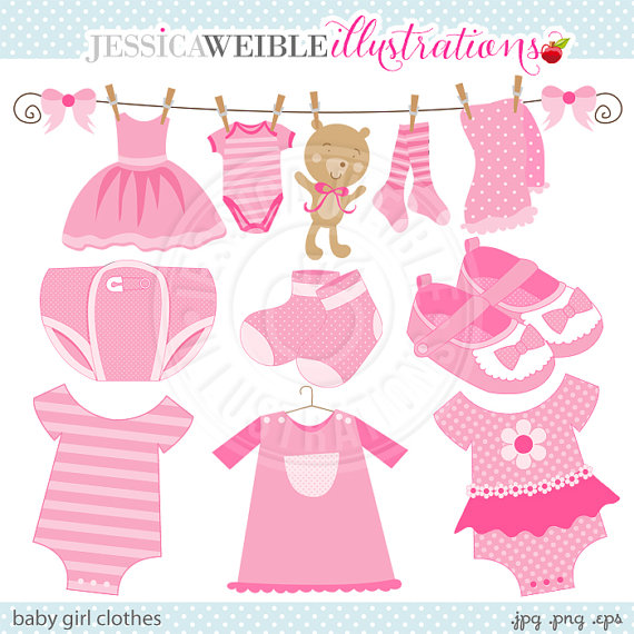 Baby Girl Clothes Cute Digital Clipart   Commercial Use Ok   Pink Baby