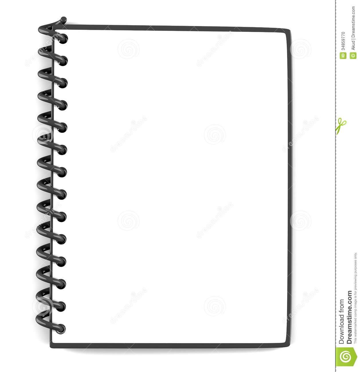 Blank Notepad On White Background  3d Illustration