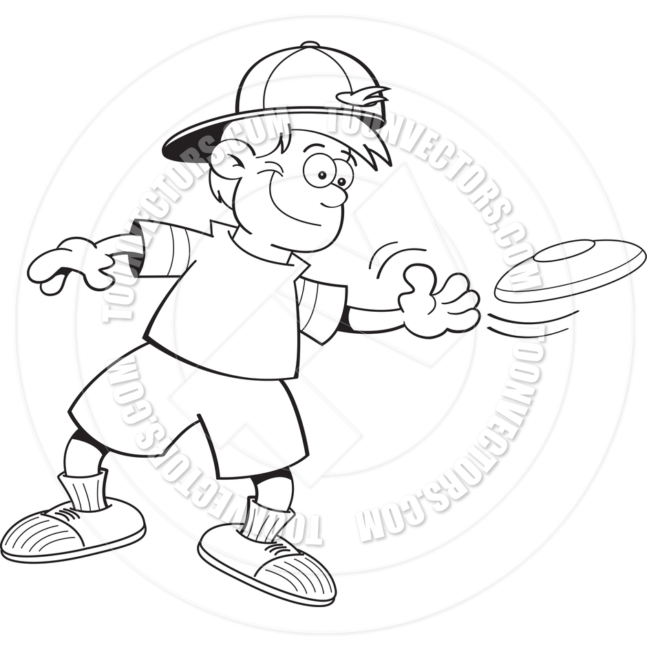 Cartoon Boy Playing With A Frisbee  Black And White Line Art  By