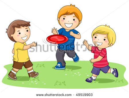 Children Playing Frisbee In The Park   Vector   49519903