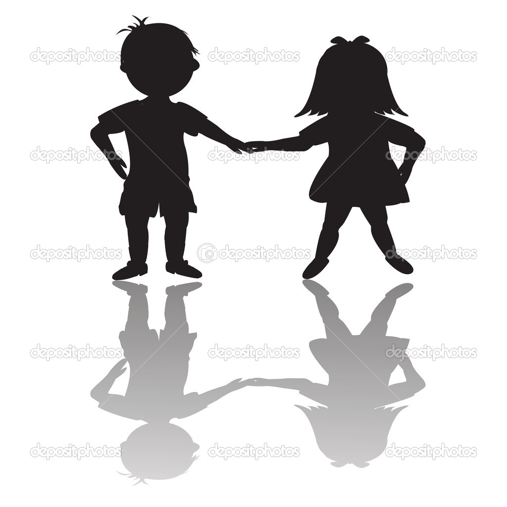 Children Silhouettes With Shadows   Stock Photo   Hibrida13