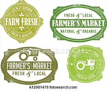 Clip Art Of Vintage Farmers Market Signs K12981478   Search Clipart