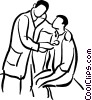 Doctor Giving A Physical Exam Vector Clipart Illustration