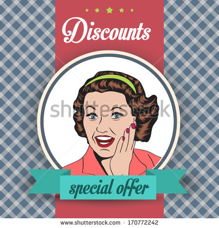 Happy Woman With Message Commercial Retro Clipart Illustration