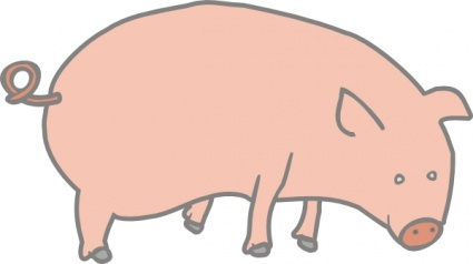 Outline Farm Pig Stand Lineart Hog Animal Mammal