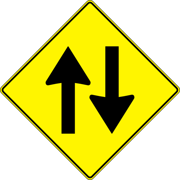 Paulprogrammer Yellow Road Sign Two Way Traffic Clip Art At Clker Com