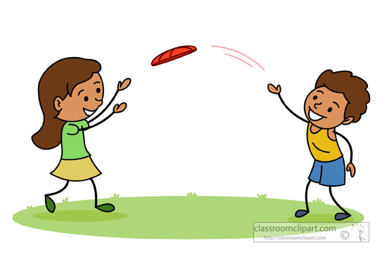 Recreation   Two Kids Playing With Frisbee   Classroom Clipart