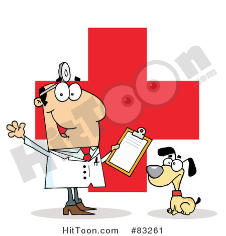 Royalty Free  Rf  Clipart Illustration Of A Male Vet With A Dog Over A