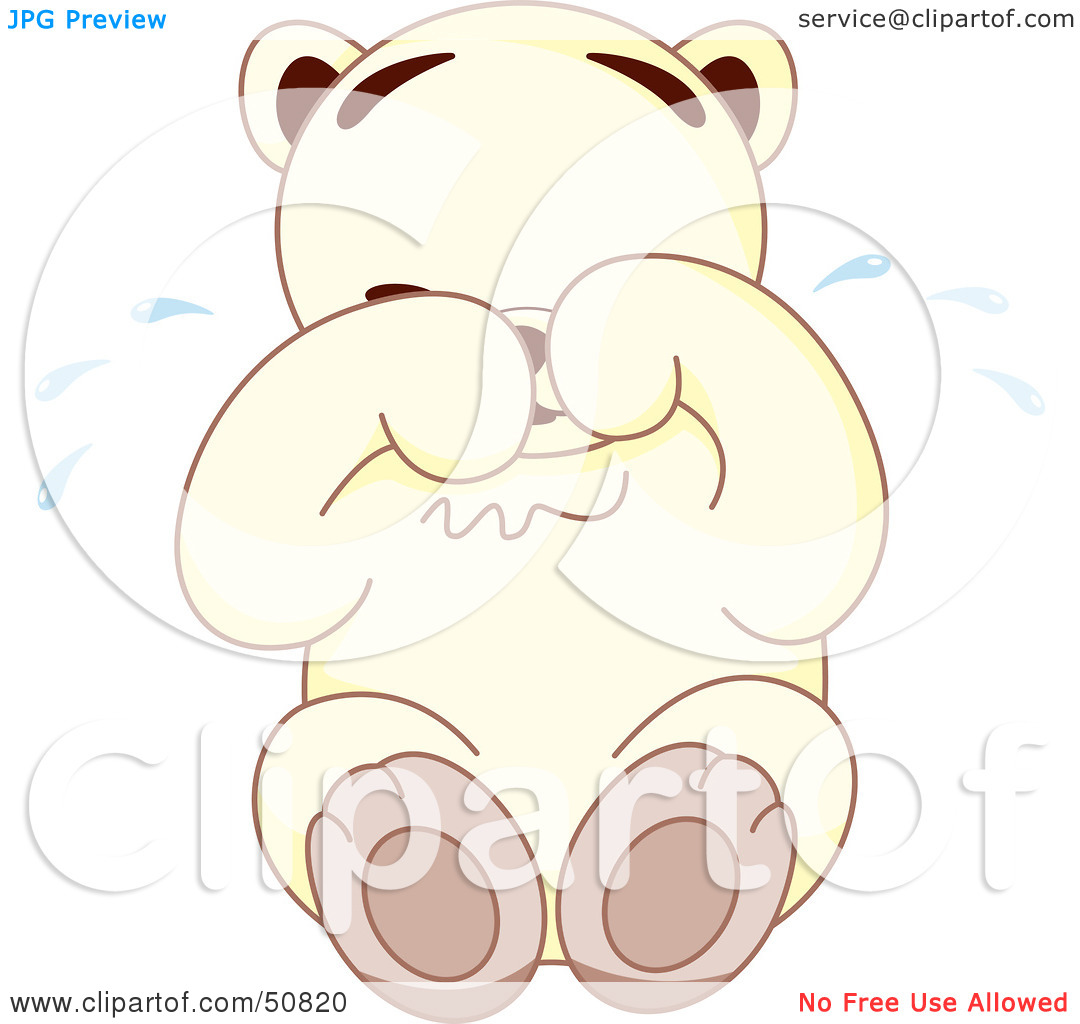 Royalty Free  Rf  Clipart Illustration Of A Sad White Teddy Bear