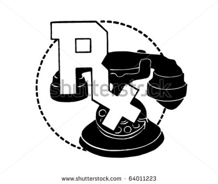 Rx Symbol On Telephone   Retro Clipart Stock Vector Illustration