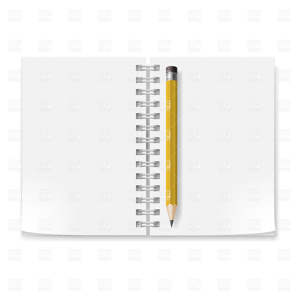 Spiral Notepad With Blank Pages And Yellow Pencil Download Royalty