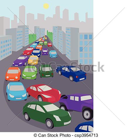 Vectors Of Traffic Jam   An Illustration Of Traffic Jam With Lots Of