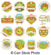 Vintage Retro Farm Labels   Easy To Edit Vector Illustration