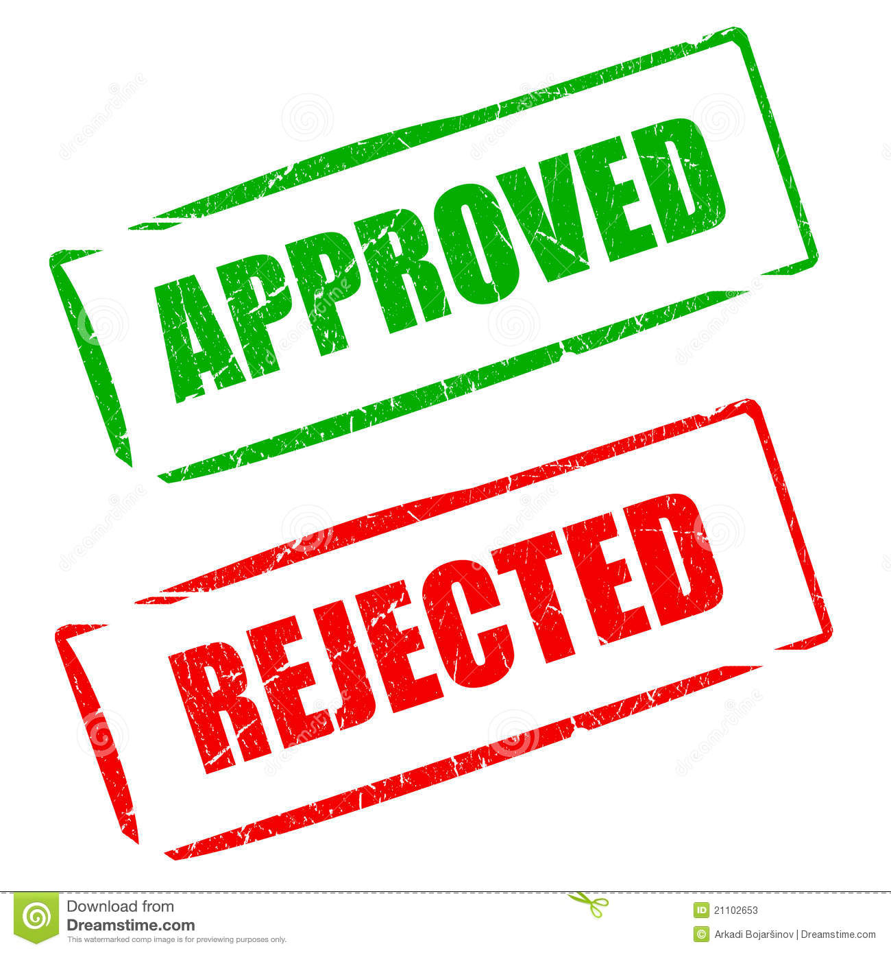 Approved Rejected Stamp Stock Photos   Image  21102653