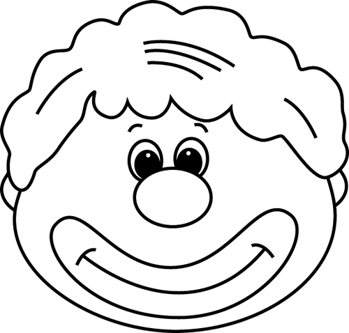 Black And White Clown Face Clip Art   Black And White Clown Face Image