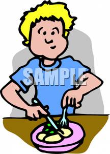 Boy Cutting Up Food And Chewing   Royalty Free Clipart Picture