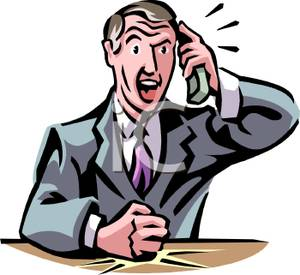 Businessman Getting Irrate On The Phone   Royalty Free Clipart