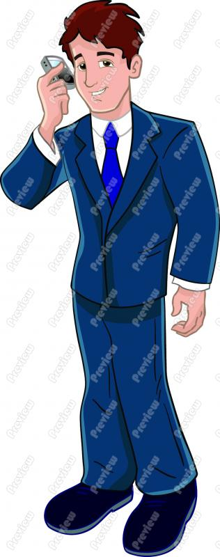 Businessman On Cell Phone Clip Art   Royalty Free Clipart   Vector