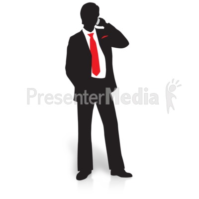 Businessman Silhouette Phone Presentation Clipart