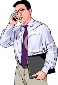 Businessman Talking On A Cellphone   Royalty Free Clipart Picture
