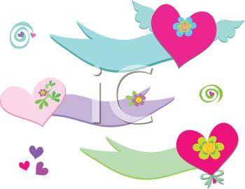 Collection Of Whimsical Heart Banners Royalty Free Clip Art Picture